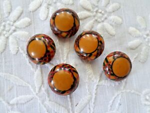 Vintage Set Of 5 Hand Painted Celluloid Buttons Butterscotch With Black