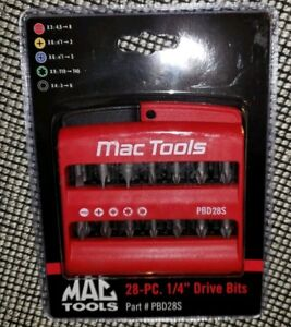 New Mac Tools Pbd28s 28 Piece 1 4 Drive Bits Bit Holder Sealed By Facom