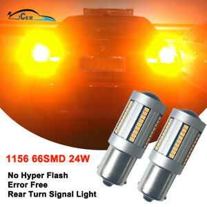 Hnzj 2pcs 1156 P21w Ba15s Canbus Error Free Amber Yellow Led Turn Signal Lights