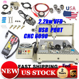 Cnc 6090 Router 4axis 2 2kw Vfd Usb Metal Wood Engraver Engraveingwith Handwheel