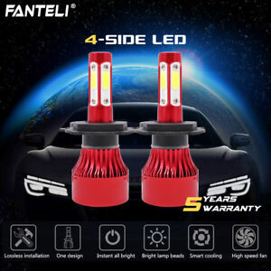 Cree H4 Hb2 9003 2205w 330750lm 4 Side Led Headlight Set Hi Lo Power Bulbs 6000k