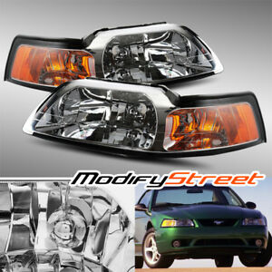 Jdm Chrome Crystal Headlights Left right Assebmly Set For 1999 2004 Ford Mustang