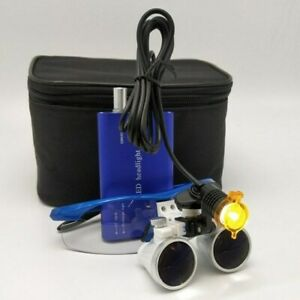 Dental Surgical Led Headlight With Filter 3 5x Binocular Loupes Magnifier Blue