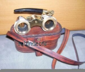 Solid Brass Traveling Telescope Binoculars Monocular Antique With Leather Box