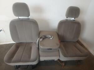 02 08 Dodge 1500 2500 3500 Front Seat Console Tan Cloth Power