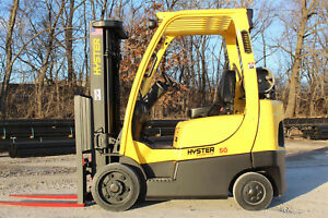 2008 Hyster S50ft 5000lb Capacity Forklift Triple Stage Mast Hi Lo Lift Truck