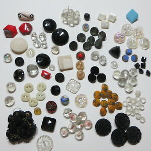 Antique Vtg Sewing Buttons Lot Of 148 All Glass