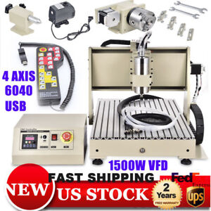 Usb 6040 1500w Vfd 4 Axis Cnc Router Engraver Machine Metal Woodworking Cut Rc