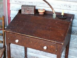 1830 Primitive Slant Front Desk Original Grain Paint Dovetailed Square Nailed
