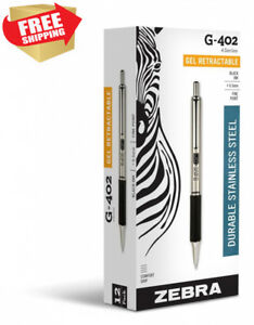 Zebra G 402 Stainless Steel Retractable Gel Pen Fine Point 0 5mm Black