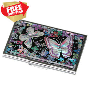 Mother Of Pearl Womens Business Credit Name Id Card Case Cash Metal