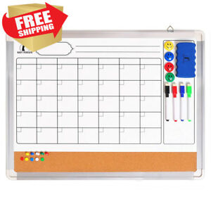 Whiteboard Monthly Wall Calendar Set Magnetic Planner Dry Erase cork Board