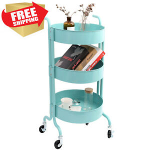 3 tier Metal Utility Rolling Cart With Wheels Round Storage Organizer Tool