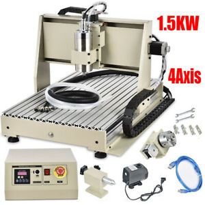 1 5kw 4axis Usb Cnc Router 6040 Engraver Machine Mill Drill Woodworking 3d Carve