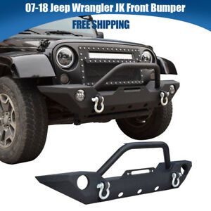 Fit 07 18 Jeep Wrangler Textured Front Bumper Led Lights Winch Plate