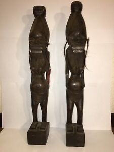 African Wood Carved Fertility Nude Female Lady Woman Sculpture Statue
