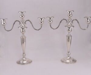 Pair Chicago Silver Co Sterling Silver Convertible Candelabras Candlesticks