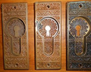 Set Of 3 Antique Eastlake Victorian Cast Bronze Pocket Door Pulls Patented 1882