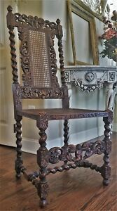Antique English French Barley Twist Renaissance Hunt Caned Chair Carved Cherubs