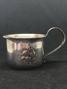 Antique Sterling Silver Webster Baby Cup Fruit Repousse