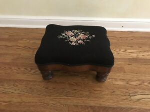 Vintage Needlepoint Victorian Foot Stool Rest Antique Tapestry Ottoman Floral
