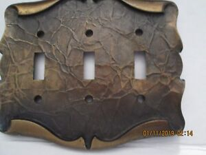 Vtg Brass Metal Outlet Cover Triple Light Switch