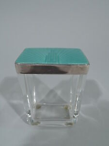 George V Vanity Jar Art Deco Modern Powder English Sterling Silver
