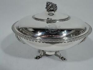 Tiffany Covered Vegetable Serving Dish On Stand 999 American Sterling Silver