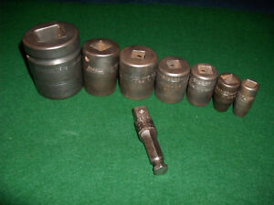 Vintage Snap on Assorted Shallow impact Sockets A 301 Power Shank Adapter Usa
