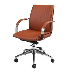 Josephina Office Chair Chrome Aluminum Pu Brown