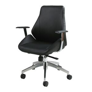 Isobella Office Chair Chrome Aluminum Pu Black