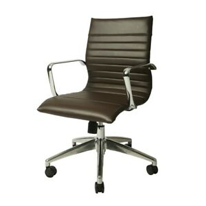 Janette Office Chair Chrome Aluminum Pu Espresso