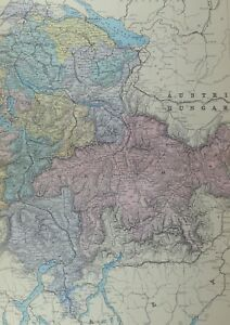 1891 Antique Map Switzerland East Grisons Appenzell Gall Schwitz Zurich
