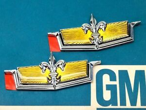Nos 77 90 Chevy Caprice Roof Emblem Set Sail Panel Hood Lock Ornament Gm Trunk