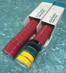 20 Rolls Of Red Black Green Dymo Tapewriter Labeling Tape 1 2 Vintage 12mm