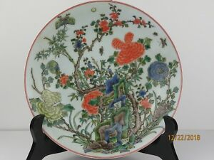 Antique Chinese Qing Dynasty Famille Verte Porcelain Bowl Plate 2