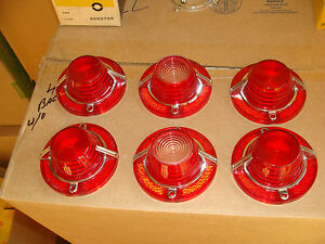 A Full Set Of Nors 1962 Chevy Impala Tail Light Backup Lenses With Ornaments