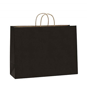 Bagdream 16x6x12 50pcs Black Kraft Paper Bags With Rope Handles For Shopping