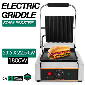 Commercial Electric Contact Press Grill Griddle 1800w Flat Top Sandwich 110v