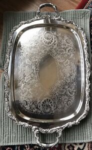 Countess International Silver Co Silver Plate Footed Serving Tray 6291