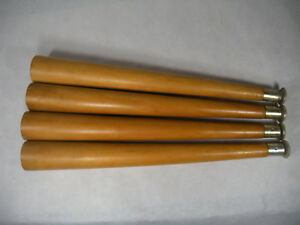 Vintage Mid Century Wood Brass Tapered Coffee Table Legs 16 Mcm Retro