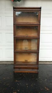 Rare 3 4 Size Globe Wernicke Tiger Oak Bookcase Drawer Base A 46