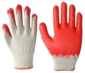 Wholesale 60 Pairs Red Latex Palm Coated Cotton Gloves Made In Korea
