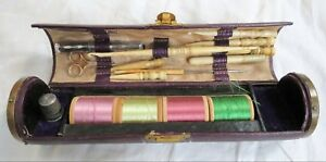 Needlework Tools Sewing Set Etui Leather Case W Sterling Thimble Old Vtg Antique