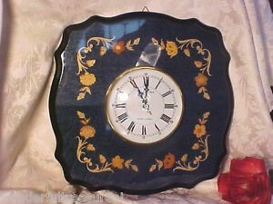 Beautifl Vintage Rare Inlaid Wood Marquetry Clock Made In Italy Gorgeous Flowers
