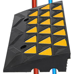 4 Height Heavy Duty Rubber Curb Ramp 2 Channel High Visibility Mounting Holes