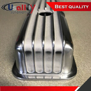 Suit Small Block Chevy 350 Nostalgic Polished Aluminum Finned Tall Valve Covers
