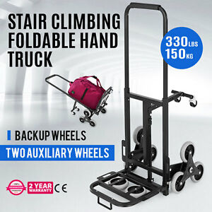 330lbs 6 Wheels Stair Climbing Cart Portable Durable Folding Pro