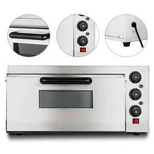 Electric 2000w Pizza Oven Single Deck Fire Stone Commercial Stainless Steel