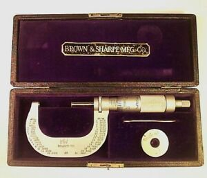 Vintage Brown Sharpe Micrometer Caliper With Box Tool 1 Inch Standard